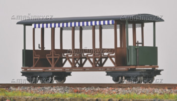 H0e - Osobní otevřený vůz s modrobílými závěsy