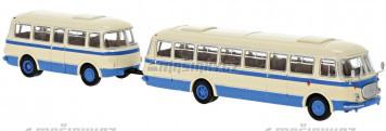 H0 - JZS Jelcz 043 Bus s vlekem P-01, béžový / modrý