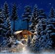 H0 - Zimní dřevěná chata s osvětlením