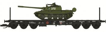TT - Plošinový vůz Sammp 10 s tankem T-54/55 ČSD