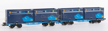 H0 - Set InnoWaggon vozů s nákladem 4 kontainerů ' 7 Sev.en / CD Cargo '
