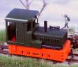 H0e - Dieselová lokomotiva Plymouth červené podvozky/zelená kastle