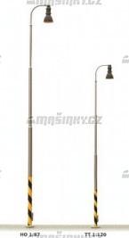 H0 - Nádražní lampa - ocelový stožár - žluté světlo